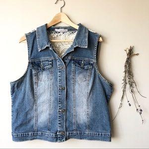 Maurices | Crochet Back Denim Vest